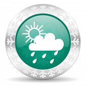 rain green icon, christmas button, waether forecast sign