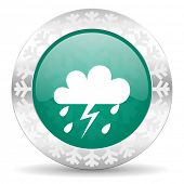 storm green icon, christmas button, waether forecast sign
