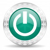 power green icon, christmas button, on off sign
