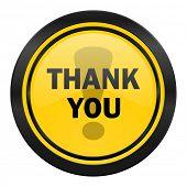 thank you icon, yellow logo,