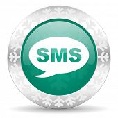 sms green icon, christmas button, message sign