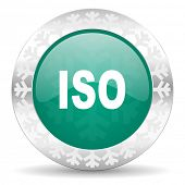 iso green icon, christmas button