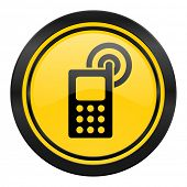 phone icon, yellow logo, mobile phone sign