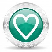 heart green icon, christmas button, love sign