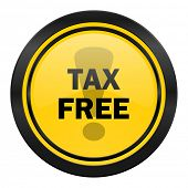 tax free icon, yellow logo,