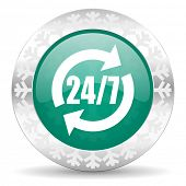 service green icon, christmas button