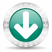 download arrow green icon, christmas button, arrow sign