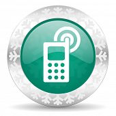phone green icon, christmas button, mobile phone sign