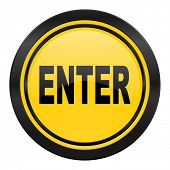 enter icon, yellow logo
