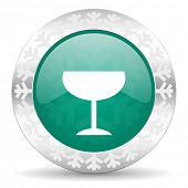 alcohol  green icon, christmas button, glass sign