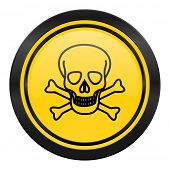 skull icon, yellow logo, death sign