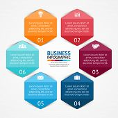 Vector circle hexagon infographic. Template for diagram, graph, presentation and chart. Business con
