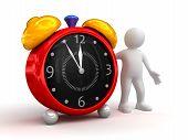 Person showing alarm clock