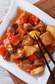 Asian Pork With Pineapple In Sweet And Sour Sauce Vertical Top View