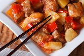 Pork Meat With Sweet And Sour Sauce Macro. Horizontal Top View