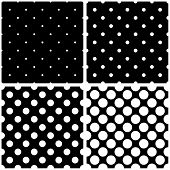 Seamless black, white and grey vector pattern or background set with big and small polka dots