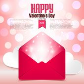 Valentine's Day Postcard With Love Letter Surprise On Defocused Bokeh Background, Vector Illustratio