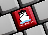 picture of cruise ship caribbean  - Computer Keyboard with Symbol of ship showing cruises in german language - JPG