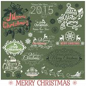 Set of Merry Christmas headlines on green background.