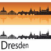 Dresden Skyline In Orange Background