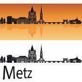 Metz Skyline In Orange Background