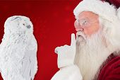 Father Christmas asks for quiet against red background