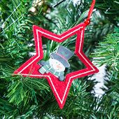 Christmas tree decoration star and snowman