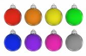 Eight Colorful Christmas Baubles