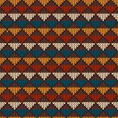 Vintage Knitted Seamless Pattern In Fair Isle Style. Hipster Sweater Design