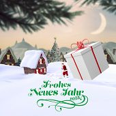 frohes neues jahr against cute christmas village with tree