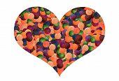 colorful light balls heart