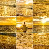 collage set of sunset sea pictures. tropical sunset, water and sky sunset background set