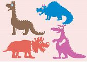 Colored silhouettes of dinosaurs