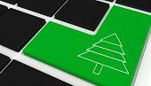 Fir tree against black keyboard with green key
