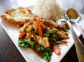 Thai santed pork with chilli & Basil leaves