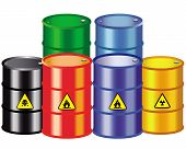 stock photo of biogas  - iron barrels of different colors on a white background - JPG