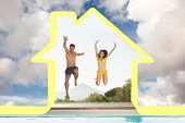 Cheerful couple jumping into swimming pool against blue sky with white clouds