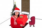 Young brunette with christmas present against white background with vignette