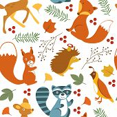Cute woodland animals pattern