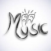 Stylish text of Music with loud speakers design on light grey background.