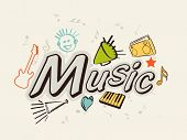 Stylish text of Music with musical instrument and musical notes on beige background.