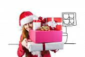 Festive redhead holding pile of gifts against living room sketch