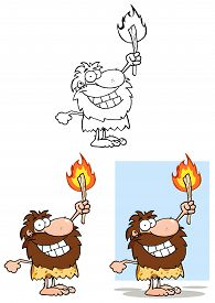 pic of cave-dweller  - Smiling Caveman Holding Up A Torch - JPG