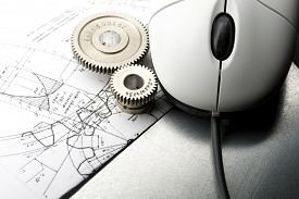 stock photo of mechanical drawing  - Mechanical ratchets drafting and mouse in closeup - JPG