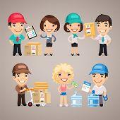 Постер, плакат: Delivery Service Characters Set