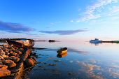 stock photo of passenger ship  - Boats and passenger ship off the coast of the Big Solovetsky Island - JPG