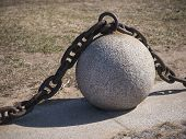 pic of ball chain  - Stone ball and metal chain in Saint - JPG