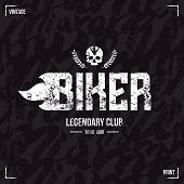 picture of biker  - Biker club emblem in retro style and seamless pattern - JPG