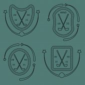 picture of iron star  - Golf sport logo elements linear  set in vintage style - JPG