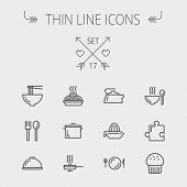 image of plate fish food  - Food thin line icon set for web and mobile - JPG